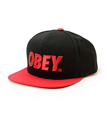 Obey The City Black & Red Snapback Hat