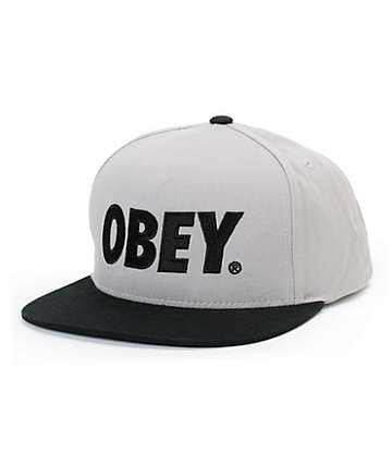 Obey The City Grey & Black Snapback Hat