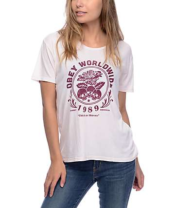 Obey Thick As Thieves Dusty Rose T-Shirt