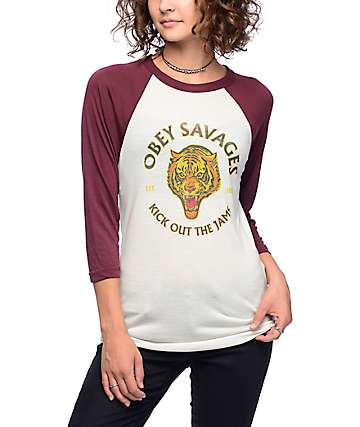 Obey Tiger Savages Port Royal Baseball Tee