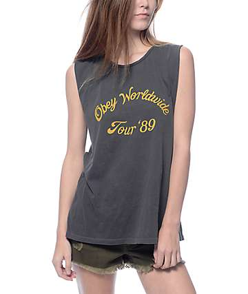 Obey Tour '89 Moto Muscle Tank Top