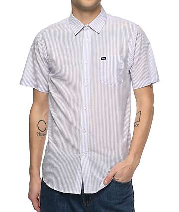 Obey Trenton Lavender Woven Button Up Shirt