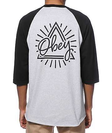 Obey Triangle Baseball T-Shirt