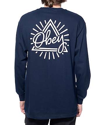 Obey Triangle Navy Long Sleeve T-Shirt