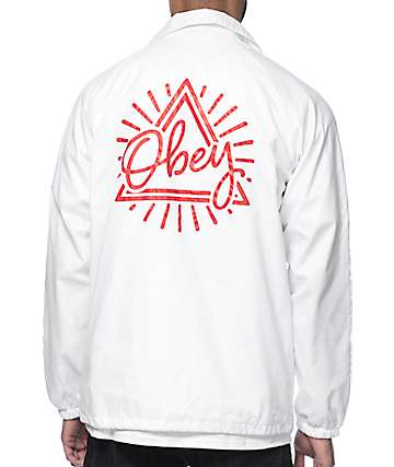Obey Triangle White Coach Jacket