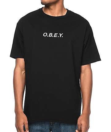 Obey Type Embroidered Black T-Shirt