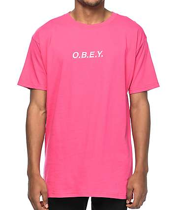 Obey Type Embroidered Pink T-Shirt