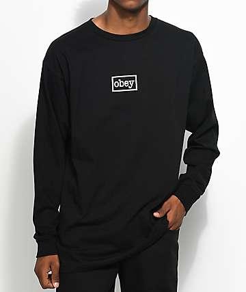 Obey Typewriter camiseta negra de manga larga
