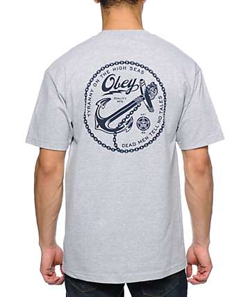 Obey Tyranny On The High Seas Heather Grey Pocket T-Shirt