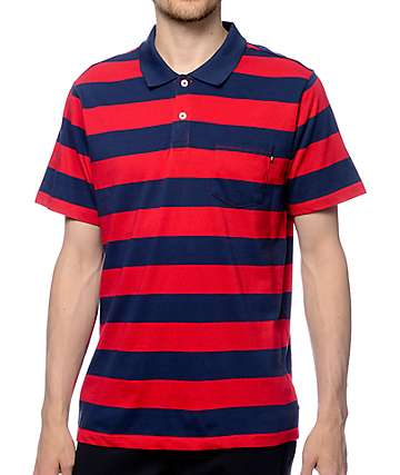 Obey Van Ness Navy & Red Polo Shirt