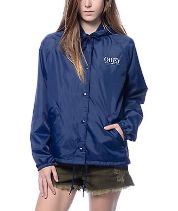 Obey Vanity Fair Navy Hooded Coach's Jacket