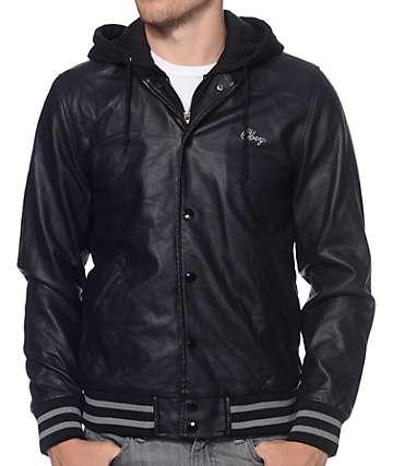 Obey Varsity Black Hooded Jacket