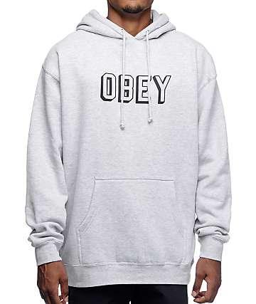 Obey Varsity Heather Grey Pullover Hoodie