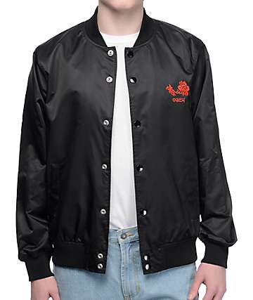 Obey Viktor Black Satin Bomber Jacket