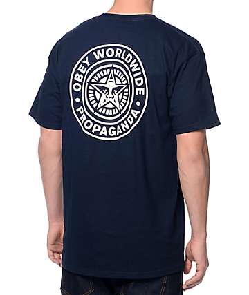 Obey Wake Up Navy T-Shirt