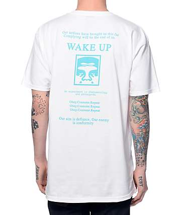 Obey Wake Up White T-Shirt