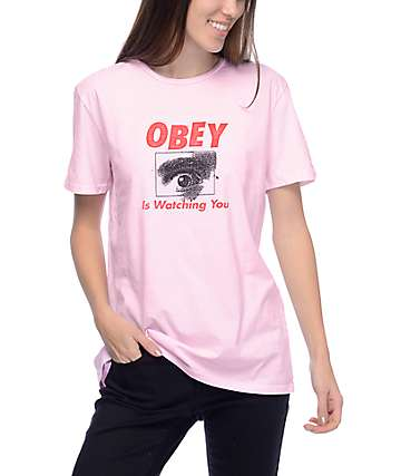 Obey Watching Classic Pink T-Shirt