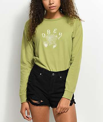 Obey Web Of Lies Green Long Sleeve T-Shirt