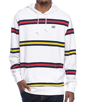 Obey Whitmore White Striped Hoodie