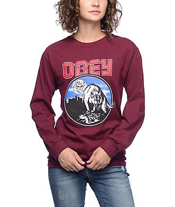 Obey Wolfen Burgundy Long Sleeve T-Shirt