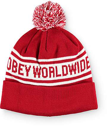 Obey Worldwide Red Pom Beanie