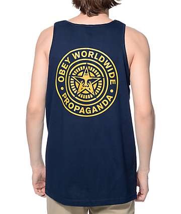 Obey Worldwide Seal Navy Tank Top