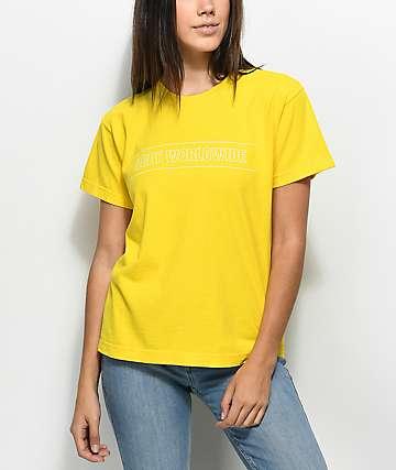 Obey Worldwide Sport camiseta en color amarillo con corte cuadrado