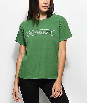 Obey Worldwide Sport camiseta verde con corte cuadrado