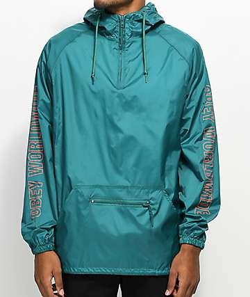 Obey Worldwide chaqueta anorak en verde azulado y rojo