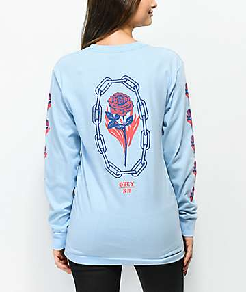Obey x Never Made Rosette Blue Long Sleeve T-Shirt