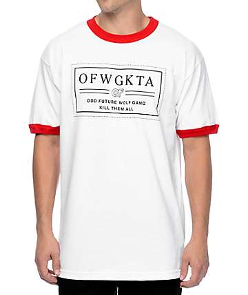 Odd Future Bar Logo White & Red Ringer T-Shirt
