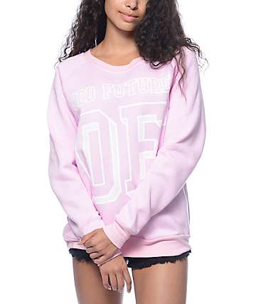 Odd Future Block Letters Pink Crew Neck Sweatshirt