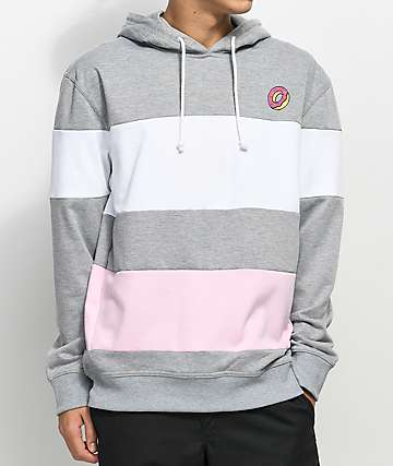 Odd Future Block sudadera con capucha en gris, blanco y rosa