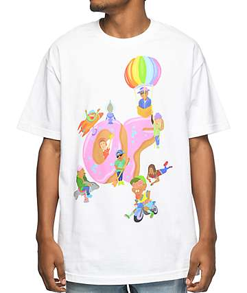 Odd Future Characters Playing camiseta blanca