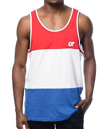 Odd Future Color Block Red, White, & Blue Tank Top
