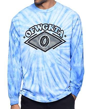 Odd Future Diamond Logo camiseta de manga larga en tenido anudado azul