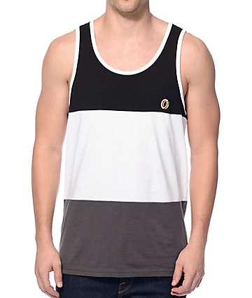 Odd Future Donut Color Block Black, White, & Grey Tank Top
