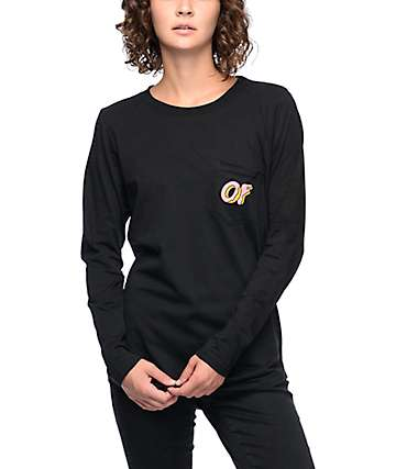 Odd Future Dual Logo Black & Pink Long Sleeve Pocket T-Shirt