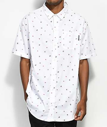 Odd Future Mini OF Print White Woven Button Up Shirt