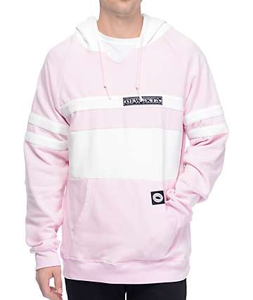 Odd Future OF Collegiate Stripe Pink & White Hoodie