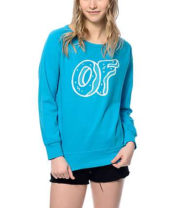 Odd Future Outlined OF Logo Blue Crew Neck Sweatshirt