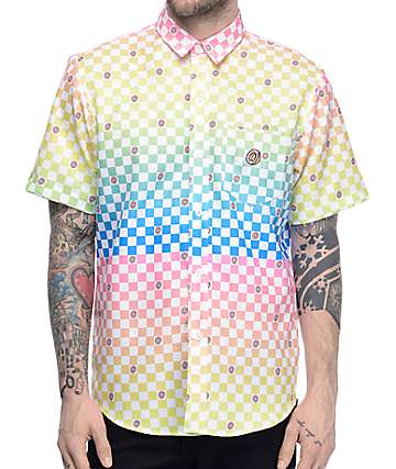 Odd Future Technicolor Checkered Short Sleeve Button Up Shirt