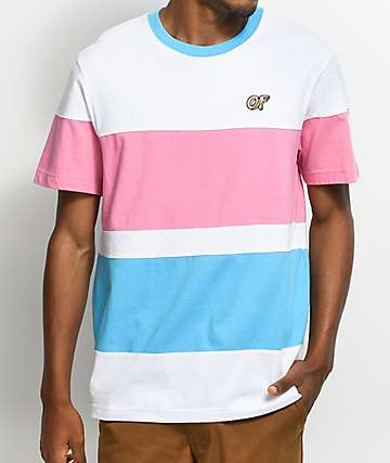 Odd Future White, Blue & Pink Colorblock Stripe T-Shirt