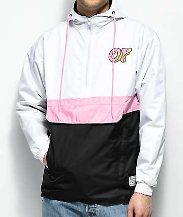 Odd Future White, Pink & Black Colorblock Anorak Jacket