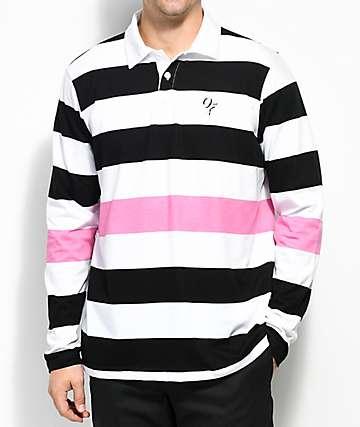 Odd Future camiseta polo de manga larga a rayas en negro , blanco y rosado