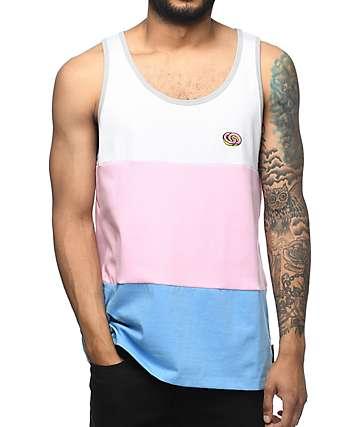 Odd Future camiseta sin mangas en blanco, rosa y azul