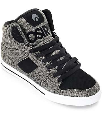 Osiris Clone Black & Grey Knit Skate Shoes