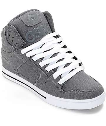 Osiris Clone Grey & White Denim Skate Shoes