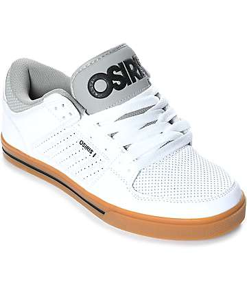 Osiris Protocol White Leather & Gum Skate Shoes