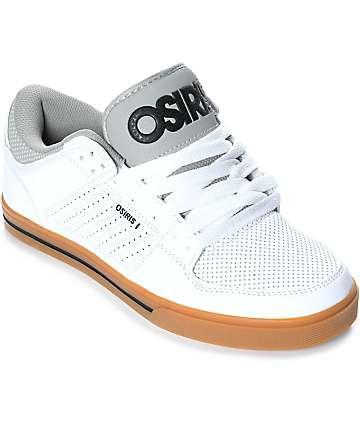 Osiris Protocol zapatos de cuero en blanco y goma